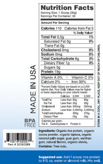 Activz Chocolate Rice Protein 30 Serving Supplement Facts