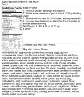Fettuccine Alfredo Pantry Box Nutritional Panel