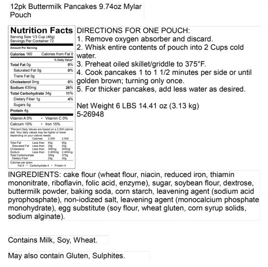 Buttermilk Pancakes Pantry Box Nutritional Panel