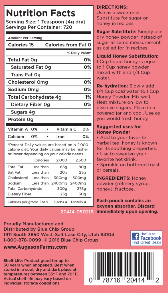 Honey Powder Nutritional Information