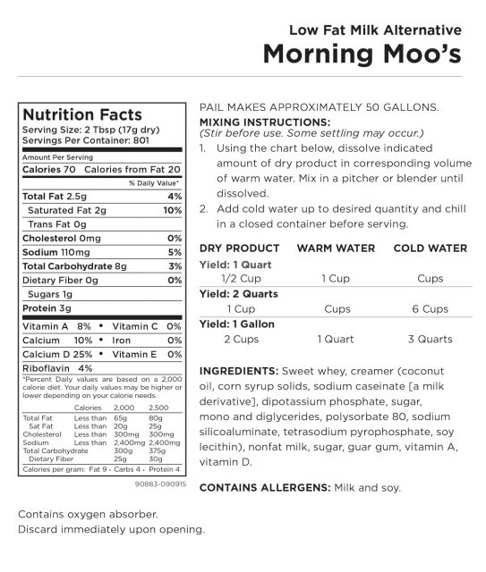 Morning Moo's Nutritional Information