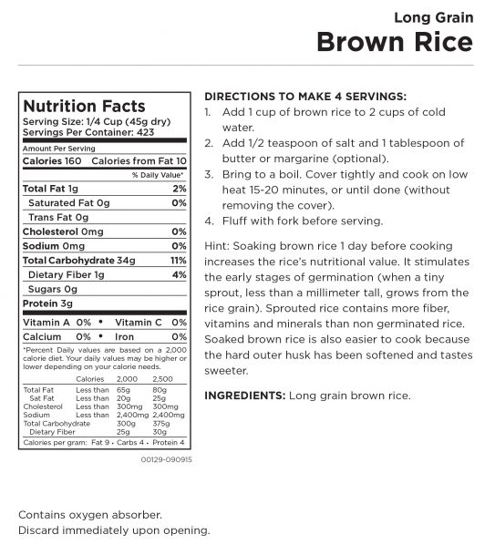 Long Grain Brown Rice Nutritional Information
