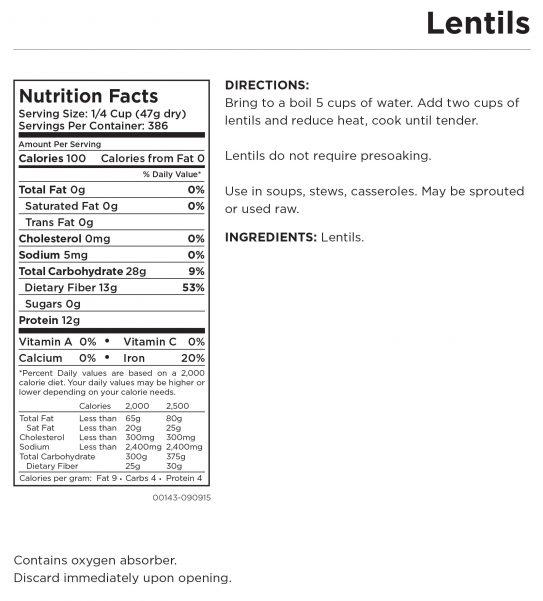 Lentils Nutritional Information