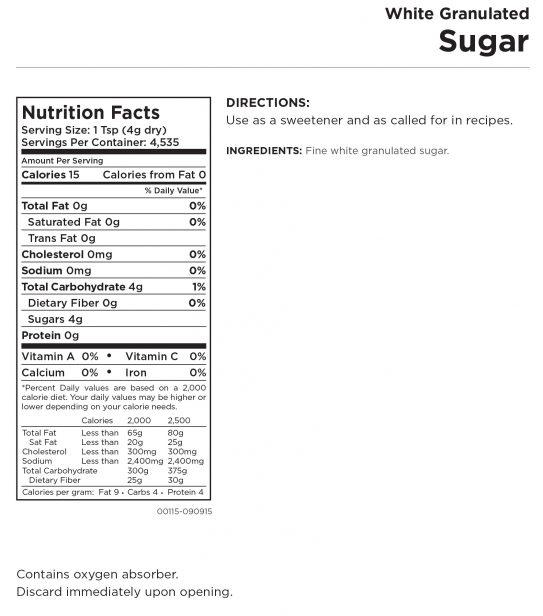 Granulated Sugar Nutritional Information
