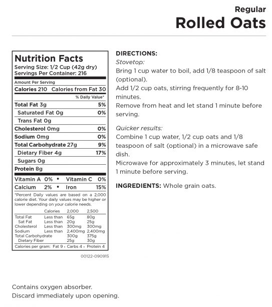 Regular Rolled Oats Nutritional Information