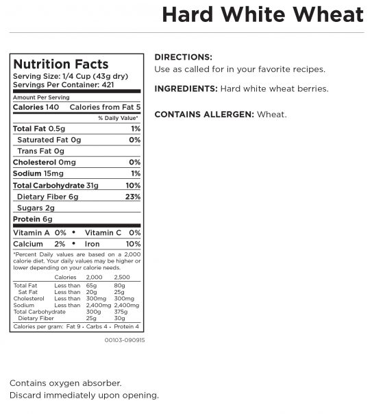 Hard White Wheat Nutritional Information