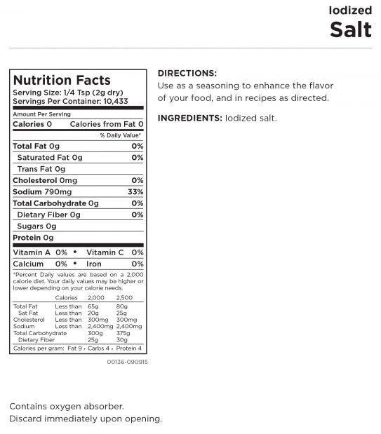 Iodized Salt Nutritional Information