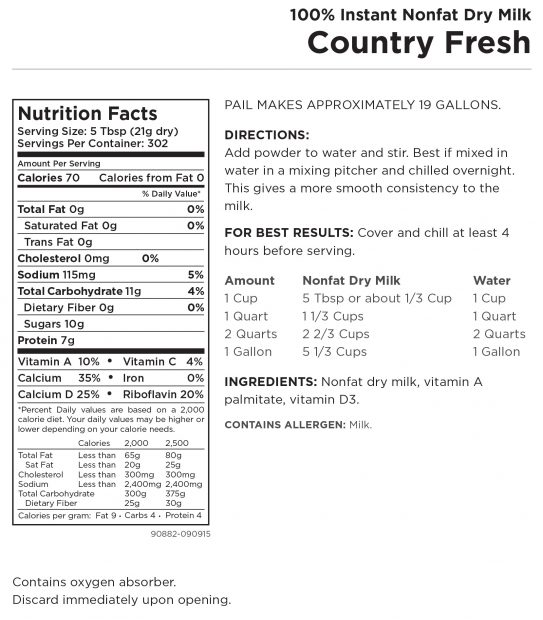 Country Fresh Milk Nutritional Panel