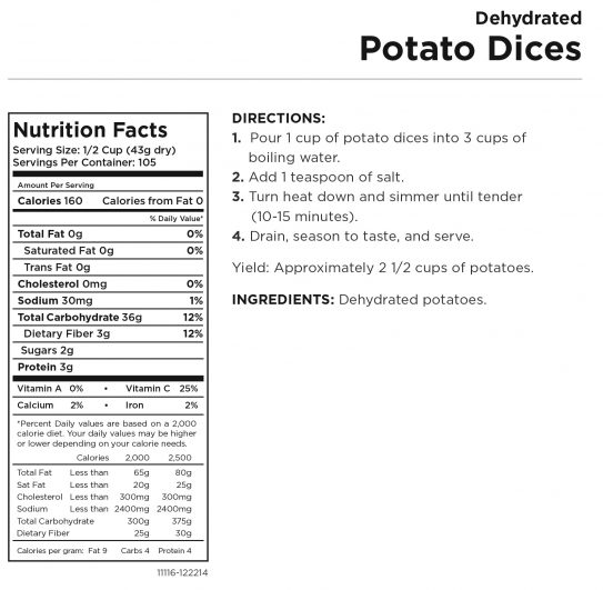 Potato Dices Nutritional Information