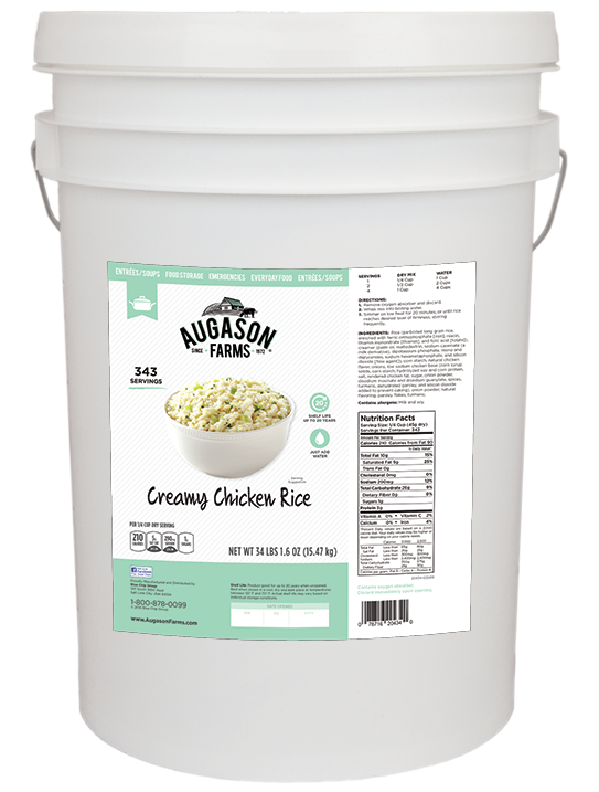 Augason Farms Creamy Chicken & Rice - 6 Gallon