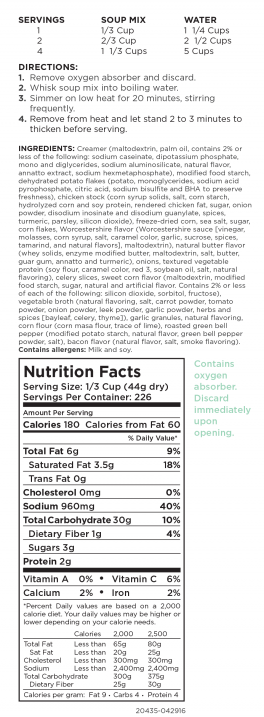 Corn Chowder Nutritional Information