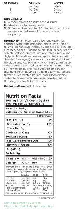 Creamy Chicken Rice Nutritional Information