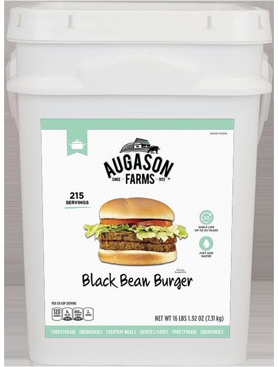 Augason Farms Black Bean Burger Bucket - 4 Gallon