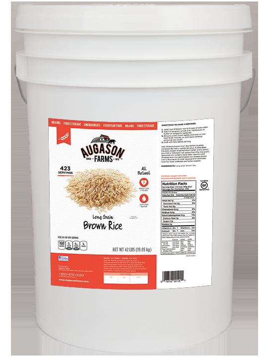 Augason Farms Long Grain Brown Rice (6 Gallon)