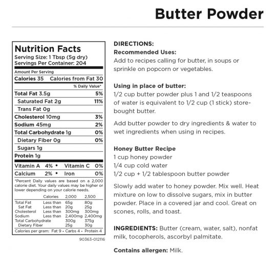 Butter Powder Nutritional Information