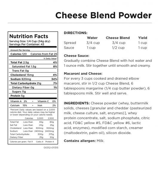 Cheese Blend Powder Nutritional Information