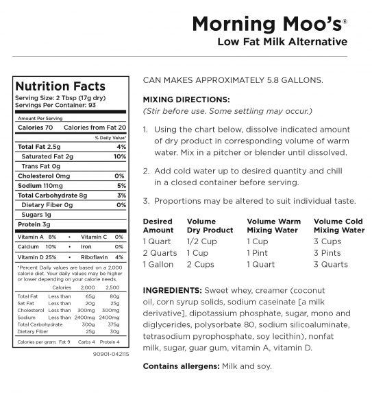 Morning Moo Nutritional Information