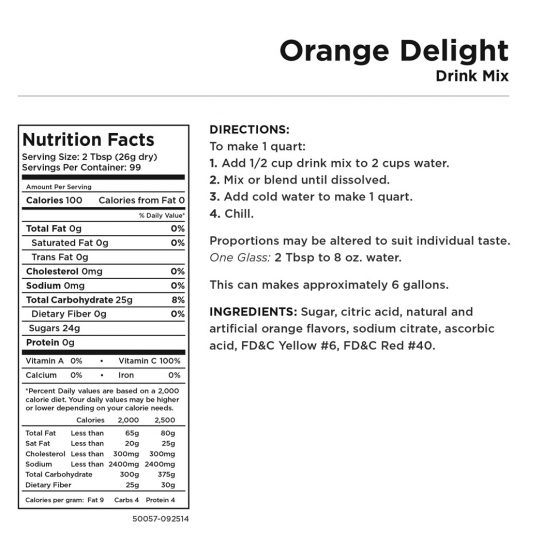 Orange Delight Nutritional Information