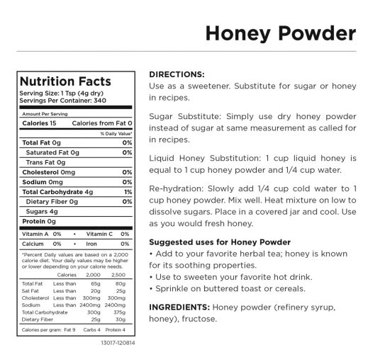 Honey Powder Nutritional Information
