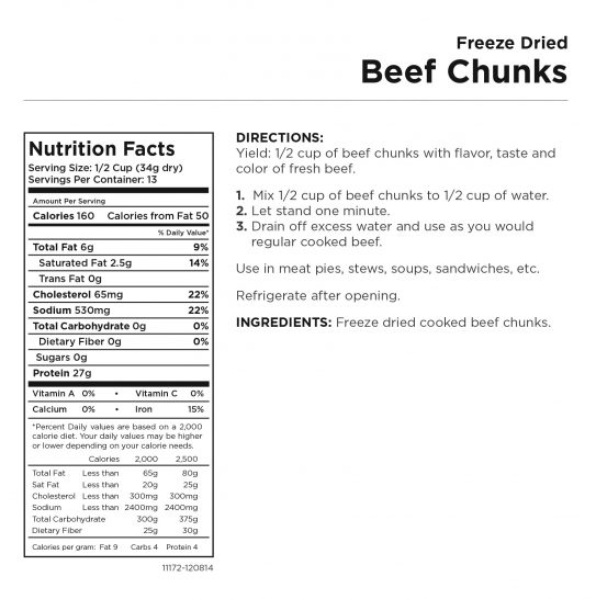 Freeze Dried Beef Chunks Nutritional Information