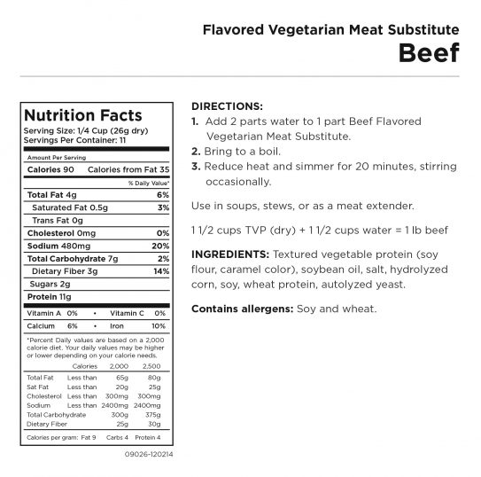 Beef Flavored Vegetarian Meat Nutritional Information