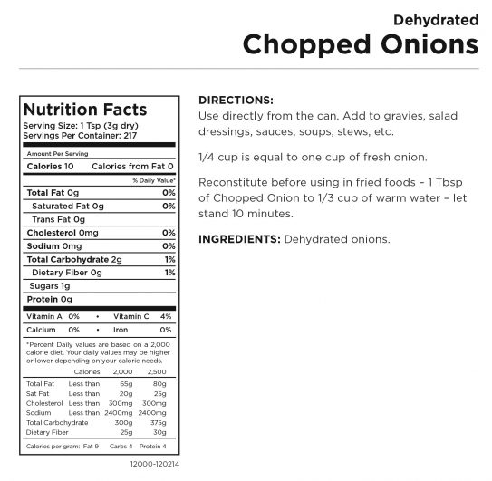 Chopped Onions Nutritional Information