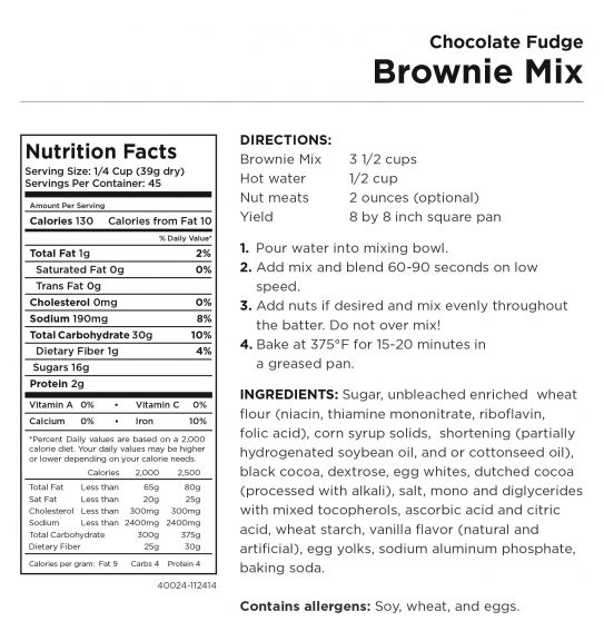 Chocolate Fudge Brownie Mix Nutritional Information