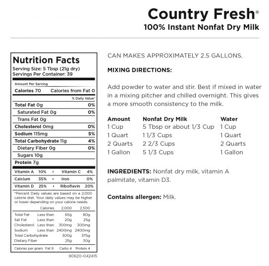 Country Fresh Milk Nutritional Information