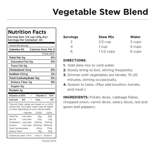 Vegetable Stew Blend Nutritional Information