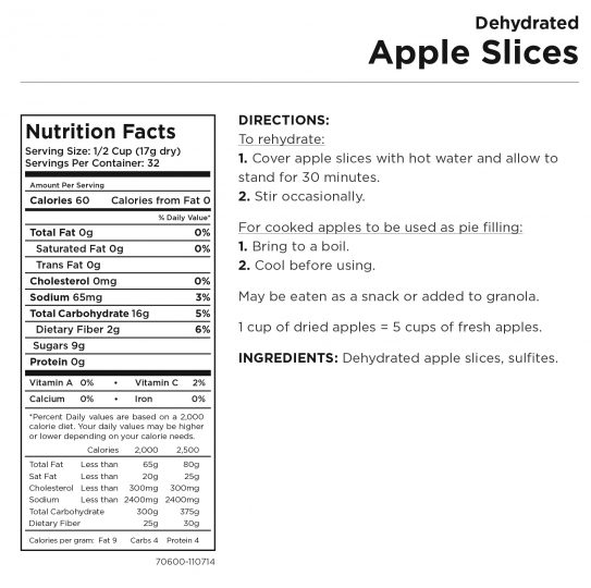 Apple Slices Nutritional Information
