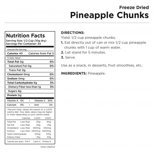 Pineapple Chunks Nutritional Information