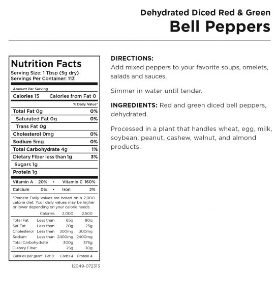 Bell Peppers Nutritional Information