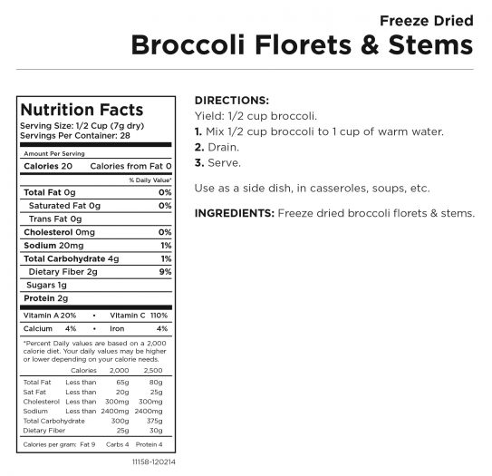 Broccoli Florets & Stems Nutritional Information