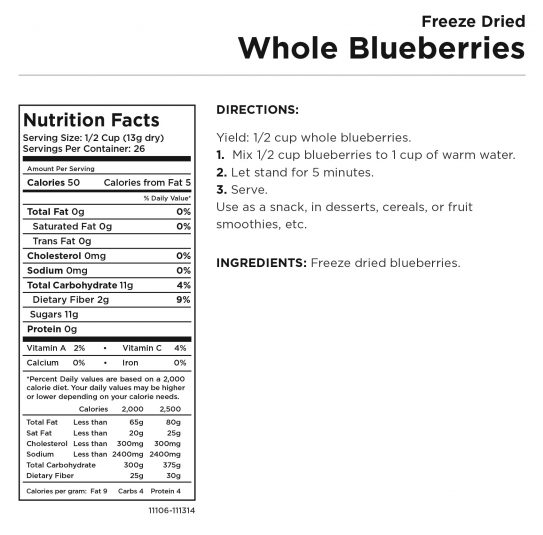 Freeze Dried Whole Blueberries Nutritional Information