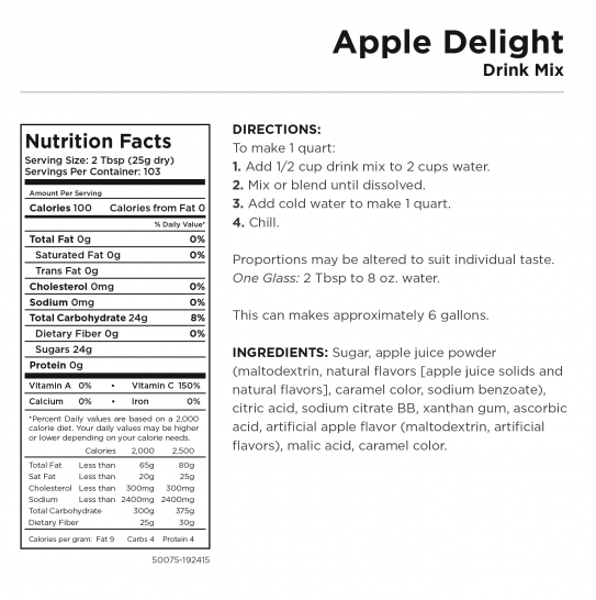 Apple Delight Nutritional Information