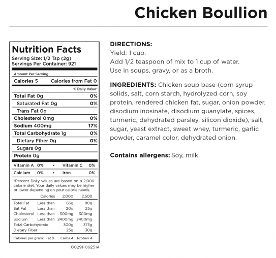 Chicken Bouillon Nutritional Information