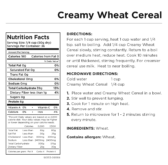 Creamy Wheat Cereal Nutritional Information