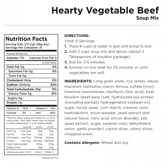 Hearty Vegetable Beef Nutrition Information