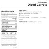 Diced Carrots Nutritional Information