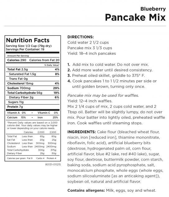 Blueberry Pancake Mix Nutritional Information