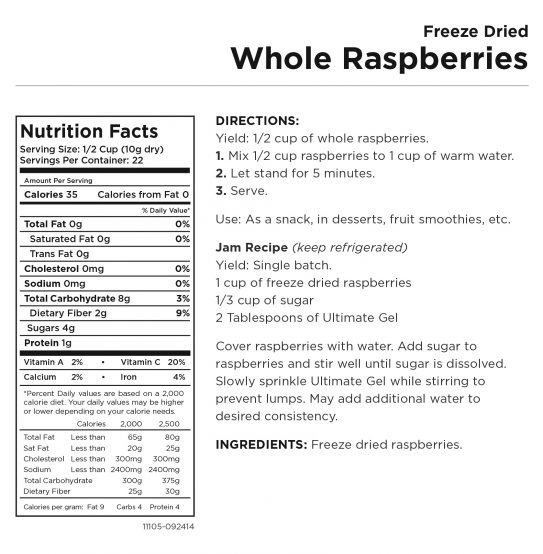 Whole Raspberries Nutritional Information