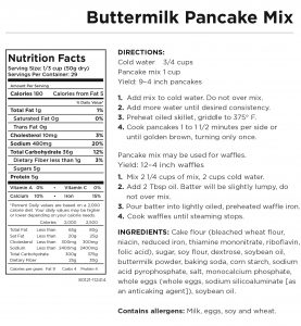 Buttermilk Pancakes Nutritional Information