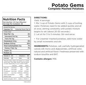 Potato Gems Nutritional Information
