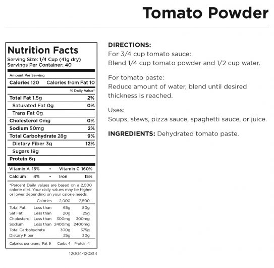 Tomato Powder Nutritional Information
