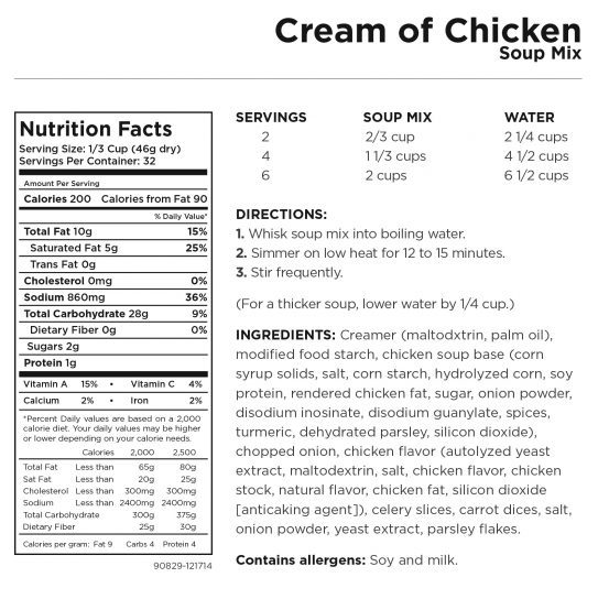 Cream of Chicken Soup Nutritional Information