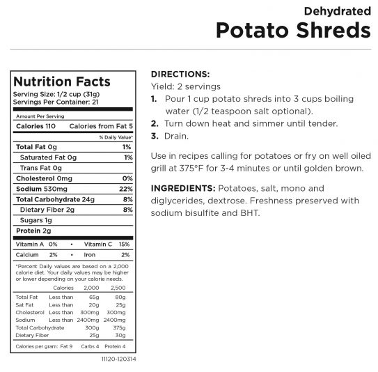 Potato Shreds Nutritional Information
