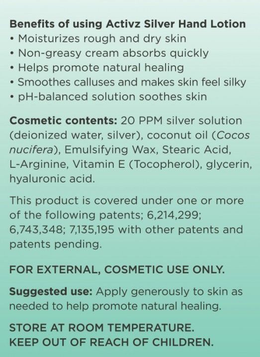 Activz Silver Hand Lotion Ingredients