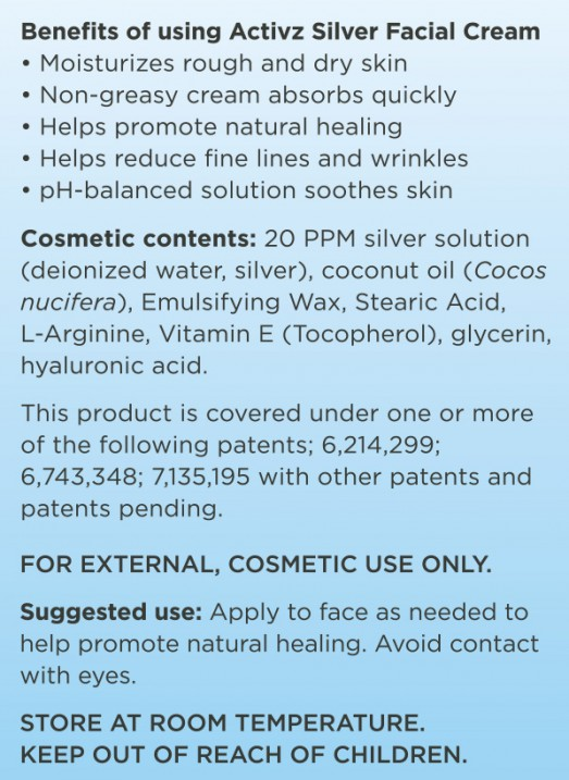 Activz Silver Facial Cream Ingredients