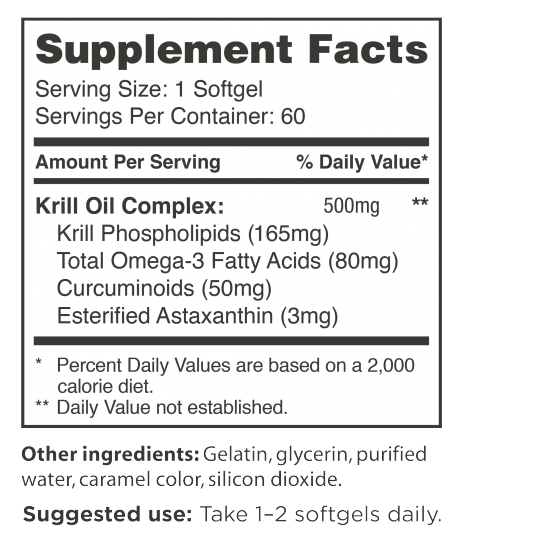 Activz Pure Antarctic Krill Oil Supplement Facts