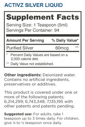 Activz Silver 16 oz. Liquid Supplement Facts